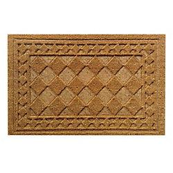 Home Decorators Collection Paillasson d'intérieur/extérieur Bordure gaufrée, 1 pi 6 po x 2 pi 6 po, rectangulaire, fibre de coco, beige et havane
