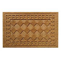 Embossed Border Beige and Tan 1 ft. 6-inch x 2 ft. 6-inch Indoor/Outdoor Rectangular Coir Door Mat