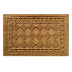 Home Decorators Collection Embossed Border Beige and Tan 1 ft. 6-inch x 2 ft. 6-inch Indoor/Outdoor Rectangular Coir Door Mat