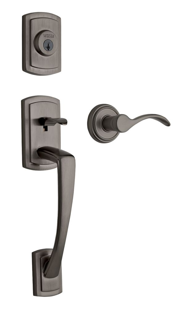 Weiser Grayson Single Cylinder Handle Set with Trapani Lever in Slate