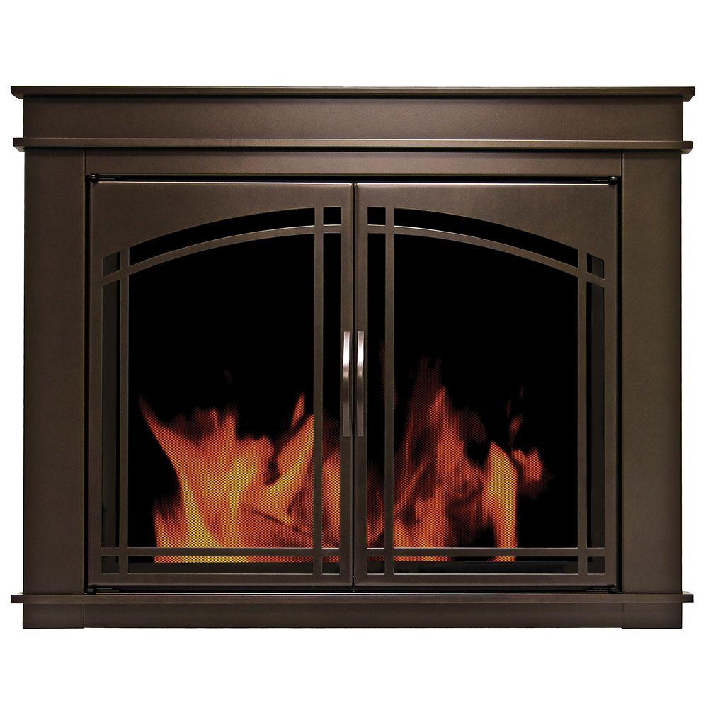 Pleasant Hearth Fenwick Large Glass Fireplace Doors