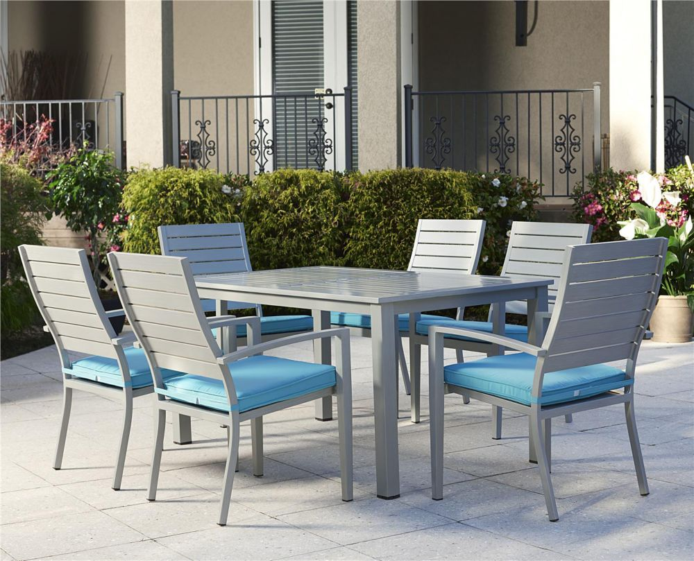 Cosco Blue Veil 7-Piece Aluminum Patio Dining Set