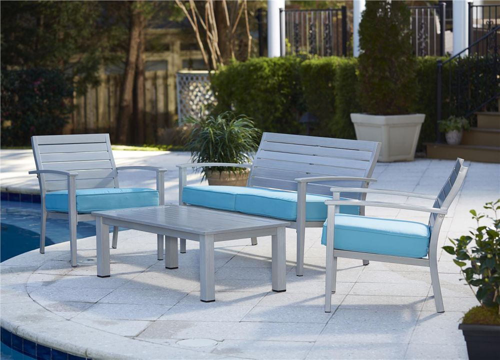 Cosco Blue Veil 4-Piece Conversation Set with Coffee Table