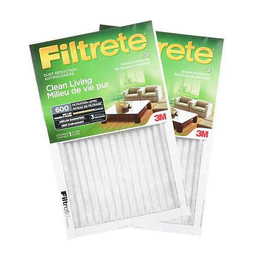 Filtrete Filters 20-inch X 25-inch X 1-inch Clean Living MPR 600 Dust Reduction Furnace Filter (2-pack)