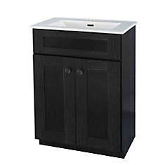Eldan 24-inch 2-Door Vanity in Dark Espresso with Ceramic Top in White and Rectangular Basin