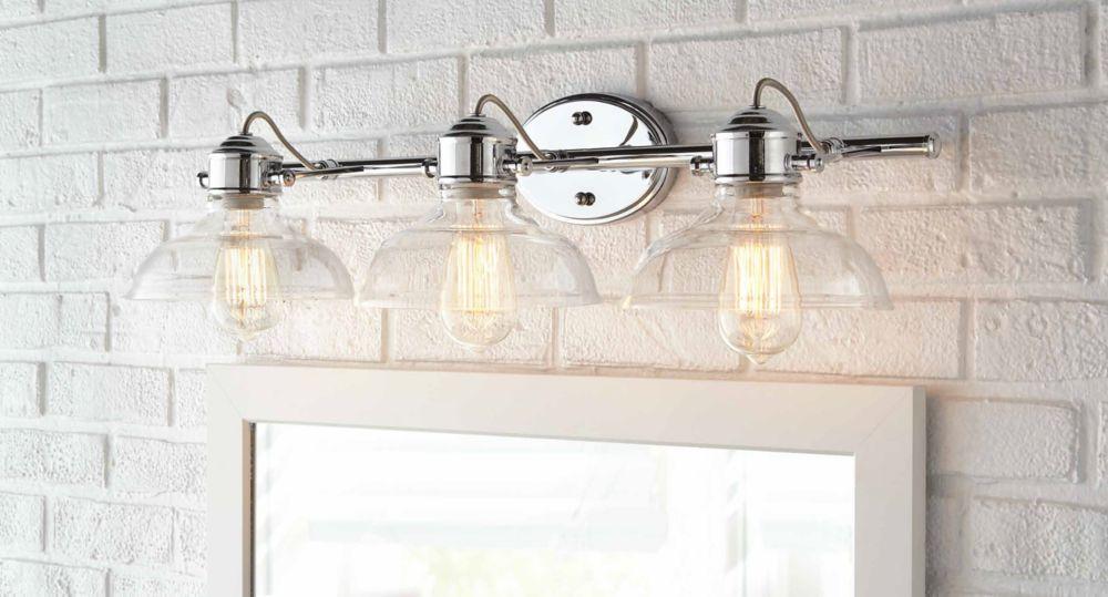 Bathroom Chrome Light Fixture: Home Decorators Collection Delacorte 3-Light Bathroom