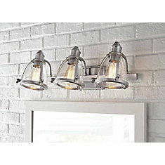 alidian 3 light bathroom vanity light fixture in brushed nickel with glass shades