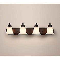 4 Light Bathroom Vanity Light Fixture In Oil Rubbed Bronze With Frosted  Glass Shades