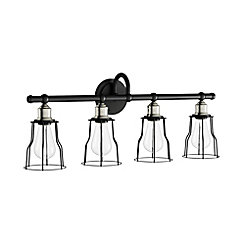 Rallino 4 light bathroom vanity light fixture in black with metal frame shades