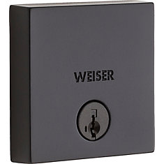 Low Profile Single Cylinder Square Deadbolt in Black