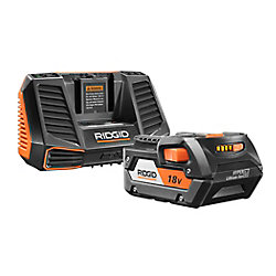 RIDGID 18-Volt 4 Ah Hyper Lithium-Ion Battery and Charger Starter Kit