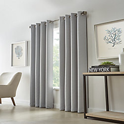 Home Decorators Collection Cut Diamond Woven Blackout Grommet Curtain 52 inches width X 84 inches length, Grey