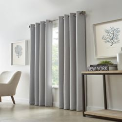 HDC Cut Diamond Woven Blackout Grommet Curtain 52 inches width X 84 inches length, Grey