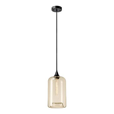 Ariana 1 light black amber glass cylinder pendant