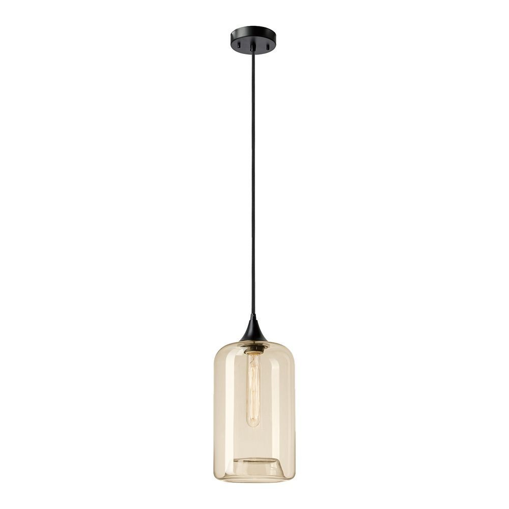 Globe Electric Ariana 1-Light Matte Black Pendant with Amber Glass Shade
