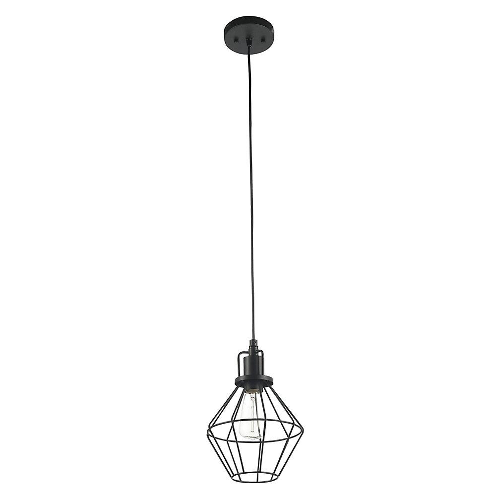d8247a3991 Globe Electric Baldwin 1-Light Matte Black Industrial Cage Pendant ...