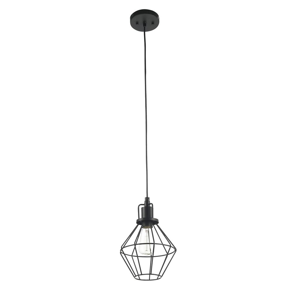 Globe Electric Baldwin 1-Light Matte Black Industrial Cage Pendant