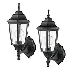 Oxford 1-Light Matte Black & Clear Glass Outdoor Upward Wall Sconce (2-Pack)