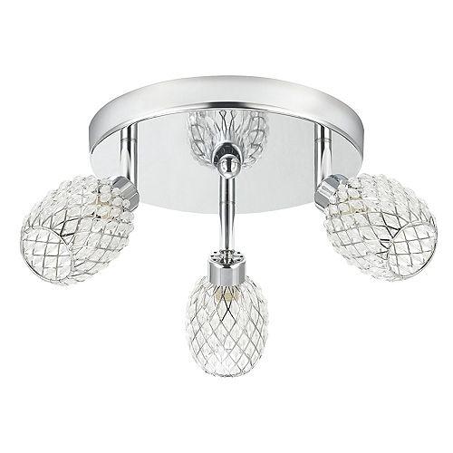 Globe Electric Sienna 3-Light Chrome Mini Pineapple Semi-Flush Mount Ceiling Light