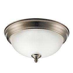 Globe Electric Aline 11In 1-Light Brushed Steel Flush Mount Ceiling Light