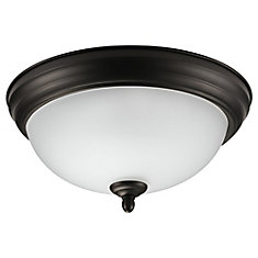 Dobson 1-Light Oil Rubbed Bronze & Frosted Glass Flush Mount - ENERGY STAR®