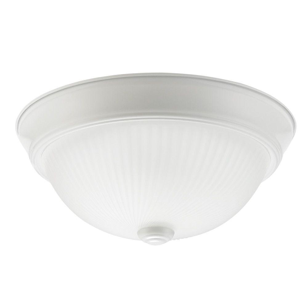 Globe Electric Hannah Ridged Glass Flush Mount Ceiling Light (2-Pack)