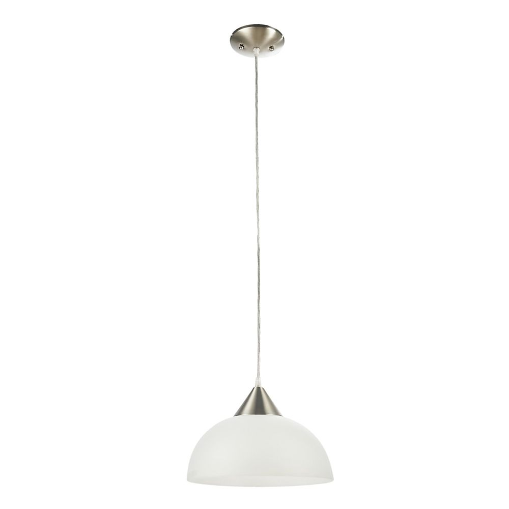 Globe Electric Edward 1-Light Brushed Steel & White Hanging Bowl Pendant