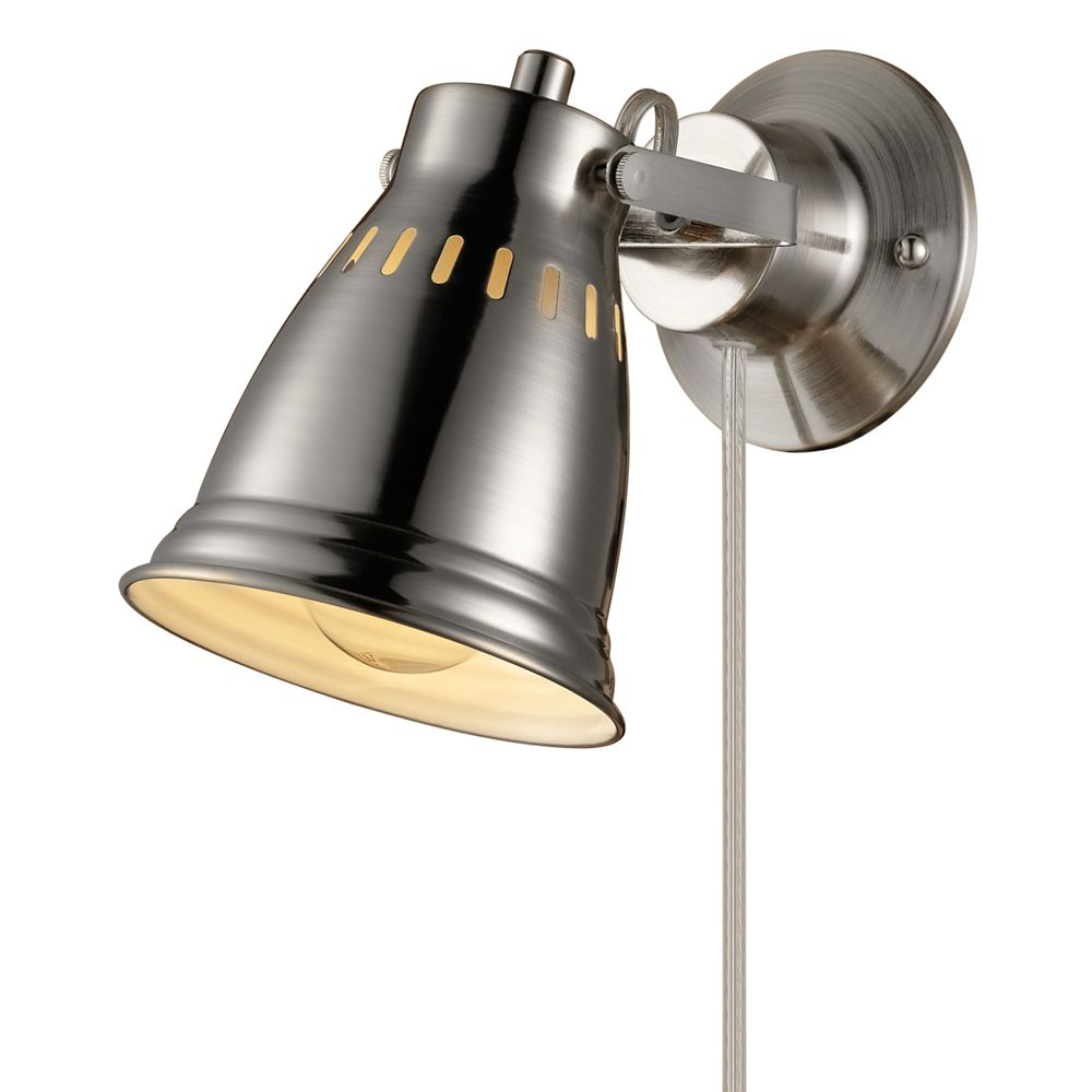 Globe Electric Cuvillier 1-Light Brushed Steel Plug-In or Hardwire Wall Sconce