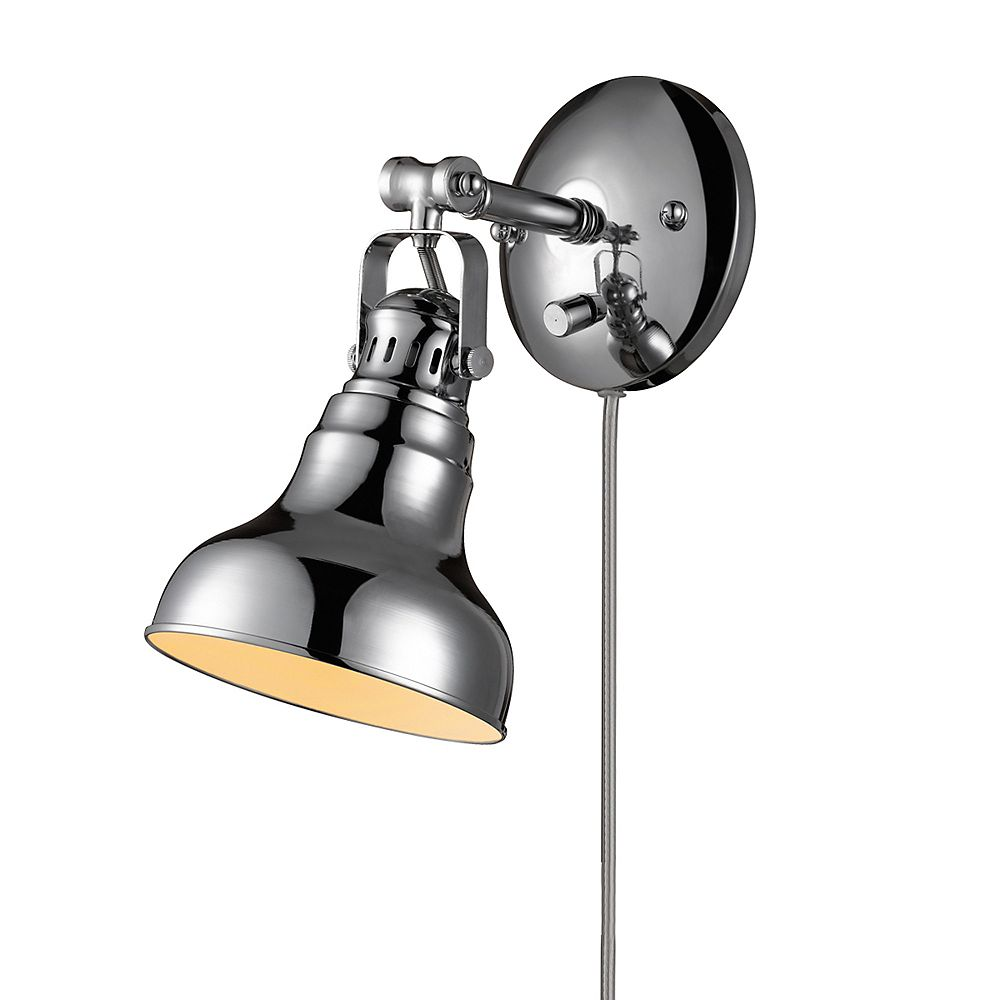 Globe Electric Charlevoix 1-Light Chrome Plug-In or Hardwire Wall Sconce