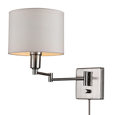 Wall lights the home depot canada bernard 1 light brushed steel white plug in or hardwire wall sconce mozeypictures Image collections