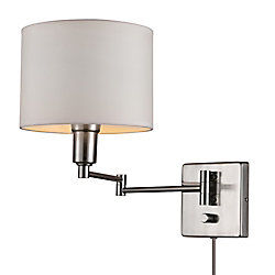 Globe Electric Bernard 1-Light Brushed Steel & White Plug-In or Hardwire Wall Sconce Fixture