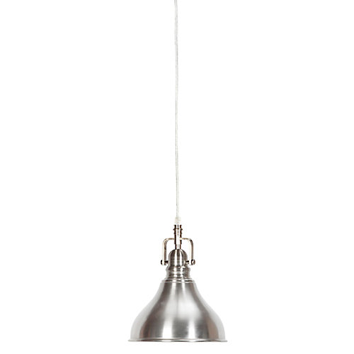Abbey 1-Light Brushed Steel Plug-In or Hardwire Pendant Light Fixture