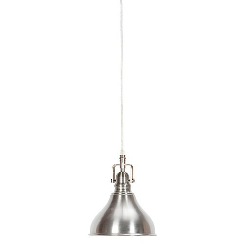 Globe Electric Abbey 1-Light Brushed Steel Plug-In or Hardwire Pendant Light Fixture