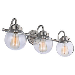 Hampton Bay 3-Light Bathroom Vanity Light Fixture in Brushed Nickel with Clear Glass Shades