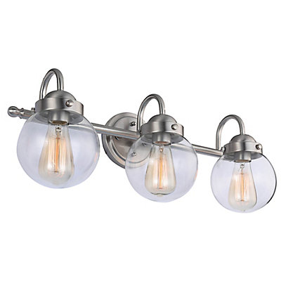 3 light bathroom vanity light fixture in brushed nickel with clear glass shades