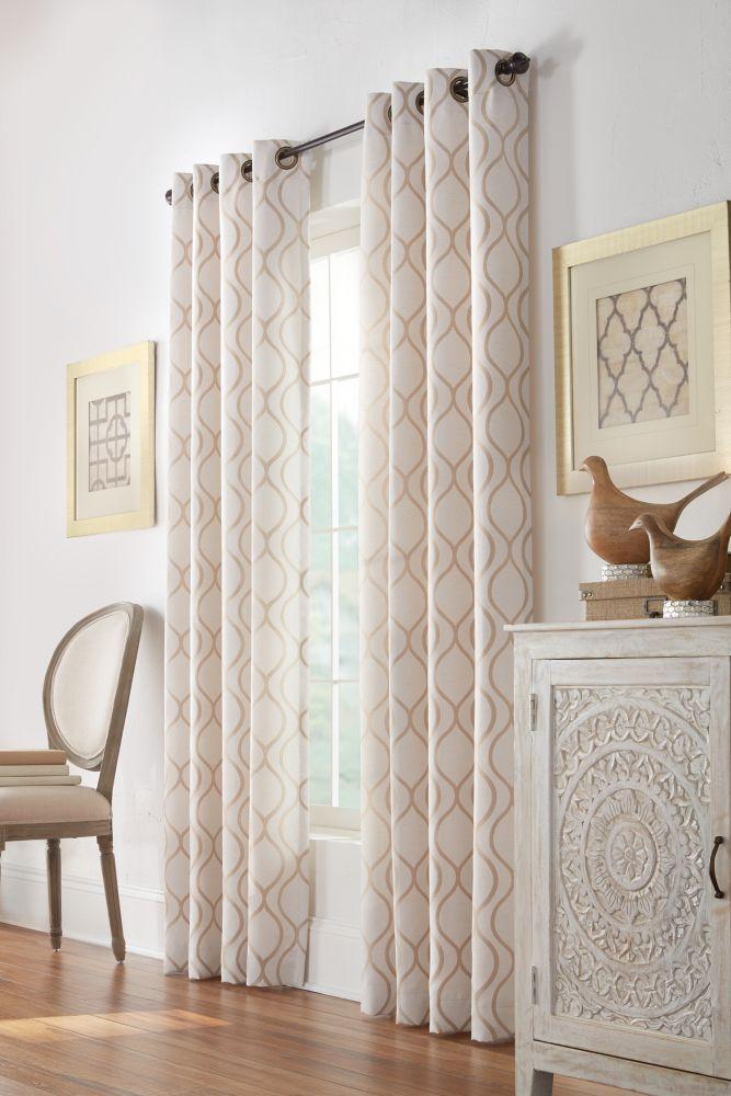 Home Decorators Collection Beige, Faux linen jacquard, light filtering, grommet, 52-inch x 84 Inch