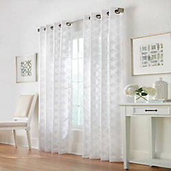 Home Decorators Collection Trillium Sheer Grommet Curtain 52 inches width X 84 inches length, White