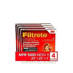 Filtrete Filters 20 inch x 20 inch x 1 inch Allergen Defense MPR 1000 Micro Allergen Furnace Filter