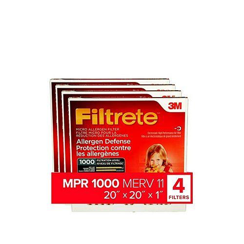 Filtrete Filters 20 inch x 20 inch x 1 inch Allergen Defense MPR 1000 Micro Allergen Furnace Filter (4 pack)