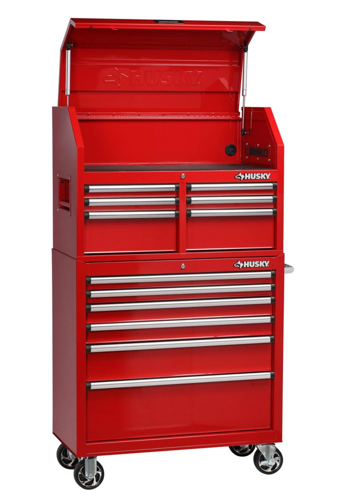 HUSKY 36-inch 12-Drawer Tool Chest and Cabinet Combo in Red