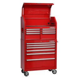 HUSKY 36-inch W x 18.3-inch D 12-Drawer Tool Chest and Rolling Cabinet Combo in Red