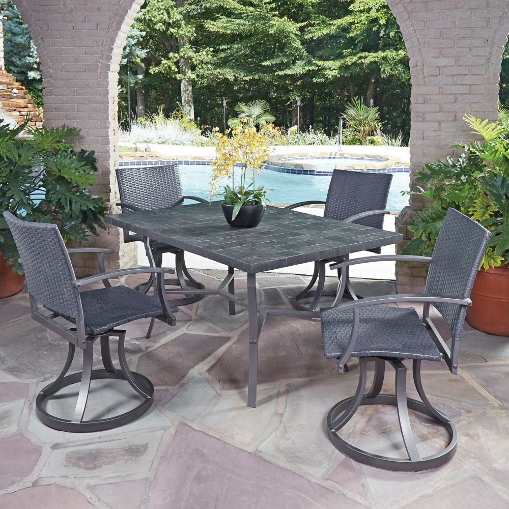 Home Styles Stone Veneer 5-Piece Patio Dining Set with Swivel Chairs