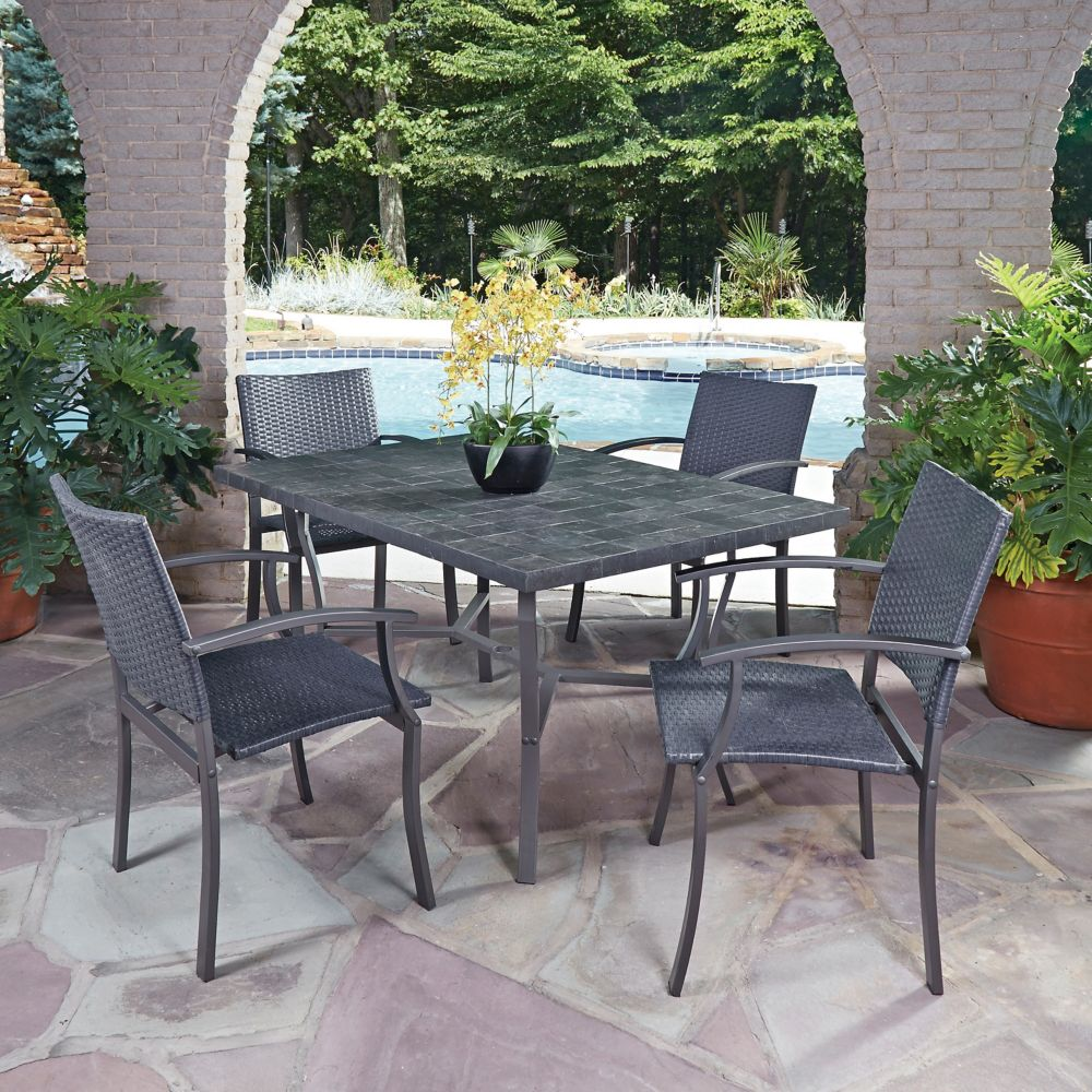 Home Styles Stone Veneer 5-Piece Patio Dining Set with Arm Chairs