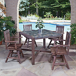 Home Styles Morocco 5-Piece Square Patio Dining Set with Swivel Chairs
