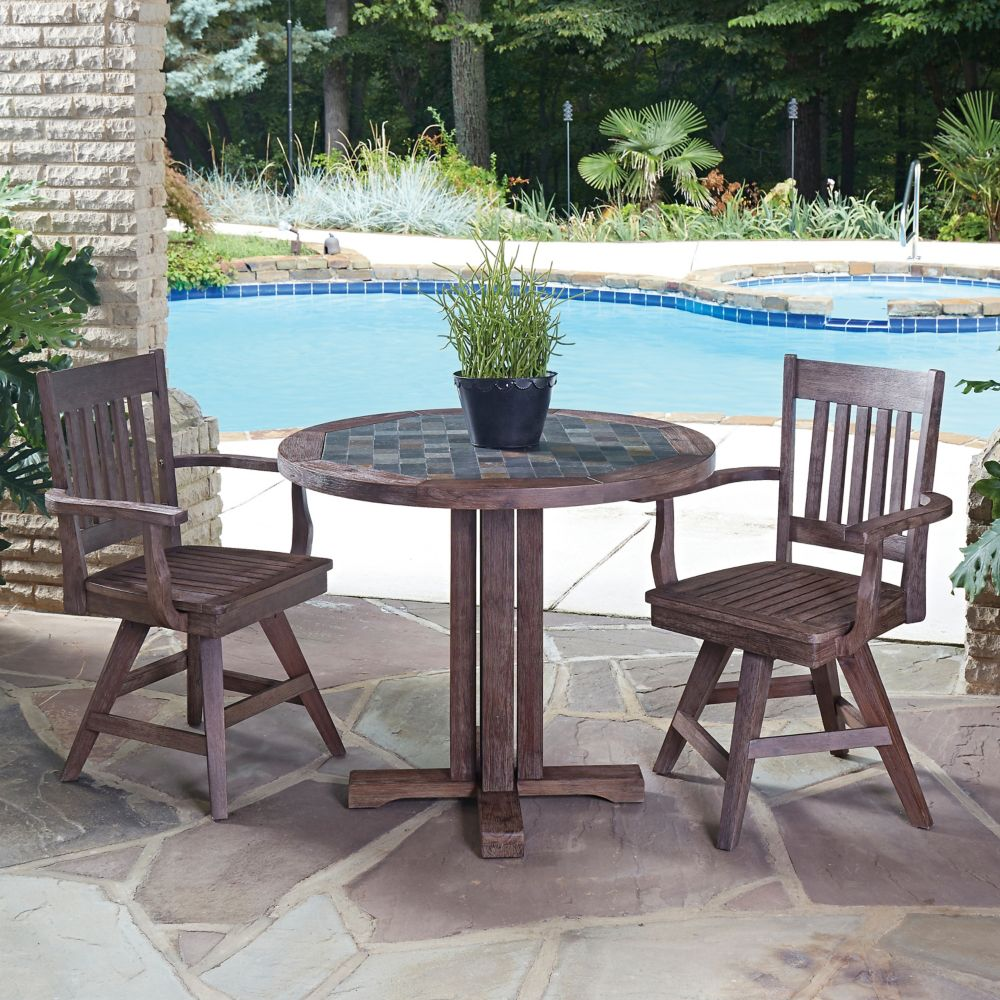 Home Styles Morocco 3-Piece Round Patio Dining Set with Swivel Chairs