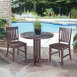 Home Styles Morocco 3-Piece Round Patio Dining Set with Arm Chairs