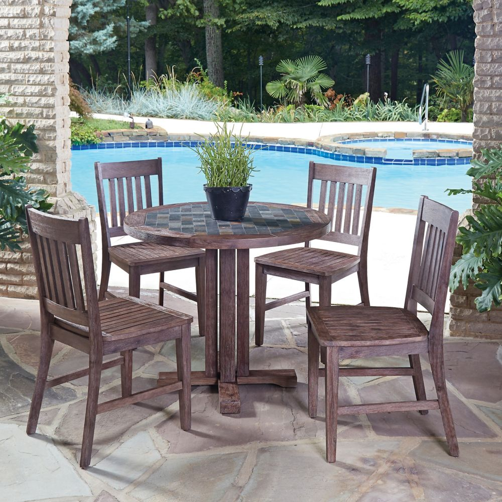 Home Styles Morocco 5-Piece Round Patio Dining Set with Arm Chairs
