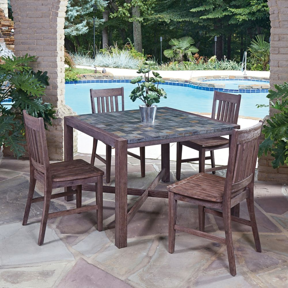 Home Styles Morocco 5-Piece Square Patio Dining Set with Arm Chairs