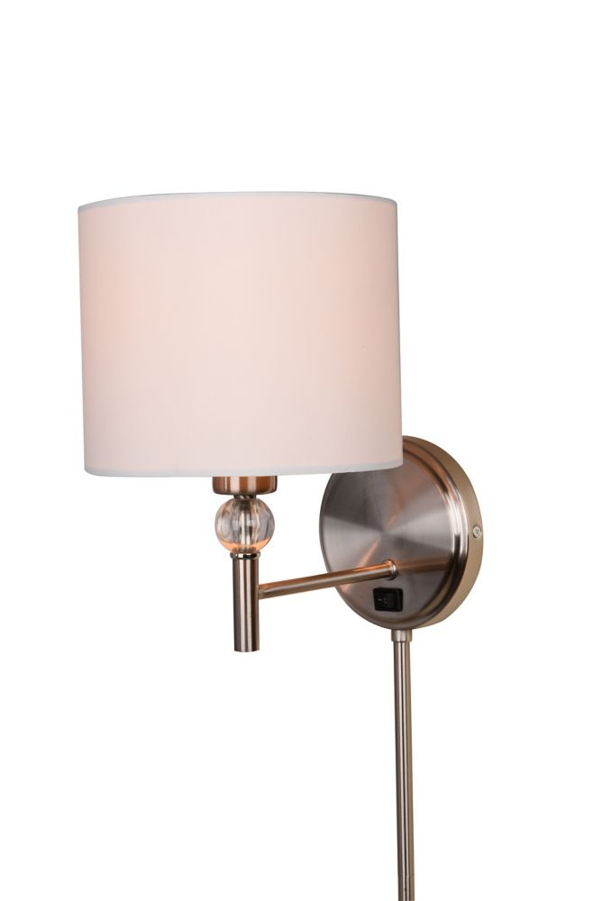 shawson lighting 26 3 4 inches wall sconce brushed nickel finish the home depot canada. Black Bedroom Furniture Sets. Home Design Ideas