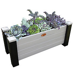 Gronomics 18-inch x 48-inch x 20-inch Maintenance Free Planter Box in Black and Grey